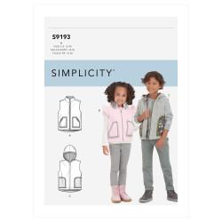 Børnevest m/hætte Dreng/pige Simplicity snitmønster 9193