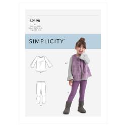 Bluse leggings og vest pigetøj Simplicity snitmønster 9198