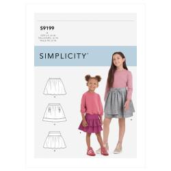 Nederdel pigetøj Simplicity snitmønster 9199