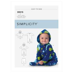 Heldragt m/fødder og hætte babytøj Simplicity snitmønster 9215