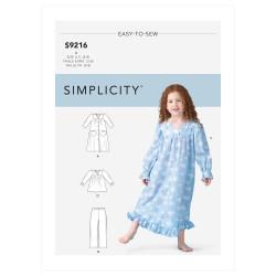 Natkjole og pyjamas pigetøj Simplicity snitmønster 9216