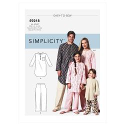Natskjorte og pyjamas bukser Simplicity snitmønster 9218