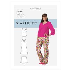 Natkjole og pyjamas Simplicity snitmønster 9219