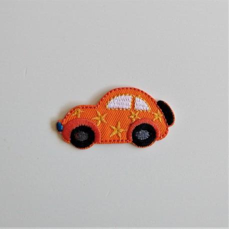 Orange bil strygemærke 5,5x3 cm