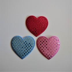 Paliet hjerte strygemærke 7,5x 7 cm