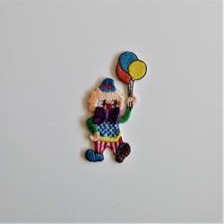 Klovn m/ballonger og sløjfe broderet strygemærke 6,5x3,5 cm