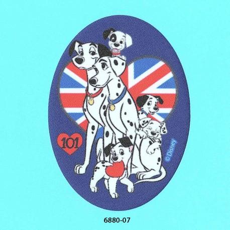 101 Dalmatiner printet oval strygemærke 11x8 cm 6880-07