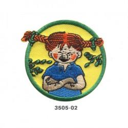 Pippi Langstrømpe broderet strygemærke Ø 5,5 cm 3505-02