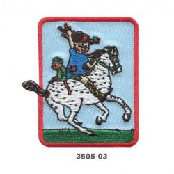 Pippi Langstrømpe på hest broderet strygemærke 6,5x6 cm 3505-03