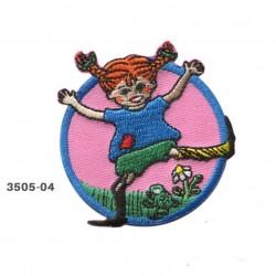 Pippi Langstrømpe broderet strygemærke Ø 6 cm 3505-04