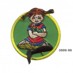Pippi Langstrømpe broderet strygemærke Ø 6 cm 3505-05