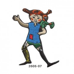 Pippi Langstrømpe broderet strygemærke 7x5 cm 3505-07