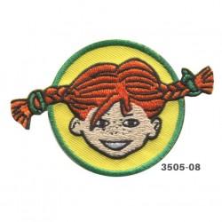 Pippi Langstrømpe broderet strygemærke 8x5 cm 3505-08