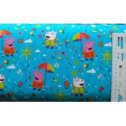 Gurli Gris m/paraply Jersey Børnestof