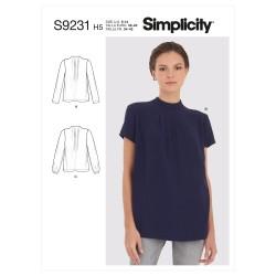 Bluse m/læg også plusmode Simplicity snitmønster 9231
