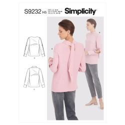 Bluse m/bånd også plusmode Simplicity snitmønster 9232