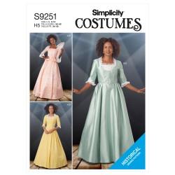 1800`tal kjole voksen kostume Simplicity snitmønster 9251