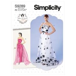 Stropløs kjole m/løst slæb Simplicity snitmønster 9289