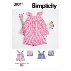 Babykjole og bukser snitmønster Simplicity 9317