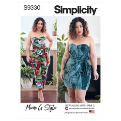 Jumpsuit og kjole stropløs også plusmode snitmønster Simplicity 9330