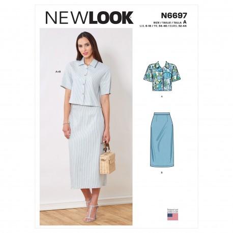 Skjorte og nederdel New look snitmønster 6697