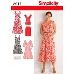 Spencer og kjole, plusmode snitmønster Simplicity