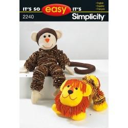 Tøjdyr abe og løve snitmønster