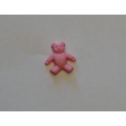 Lyserød bamse knap m/øje 15mm