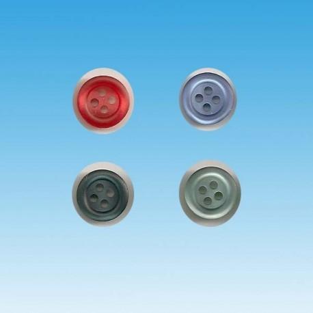 4 huk knap 12mm i lys grøn rød eller blå