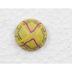Knap m/øje, mønstret Pink/Lime, 20mm