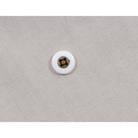 Hvid/messing knap, 4-huls, 15mm