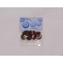 Cup cake og jordbær knap m/øje 8 stk.pr.pose dress it up knapper