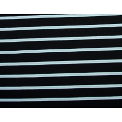 Metervare Sort m/blå-hvid stribe