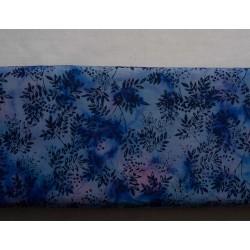 Patchwork Stof blå med bladkviste