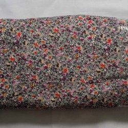 Fløjl, sølvgrå m/blomster 110 cm bred