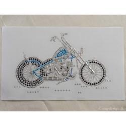 Motorcykel Rhinesten 21x13 cm Strygemærke