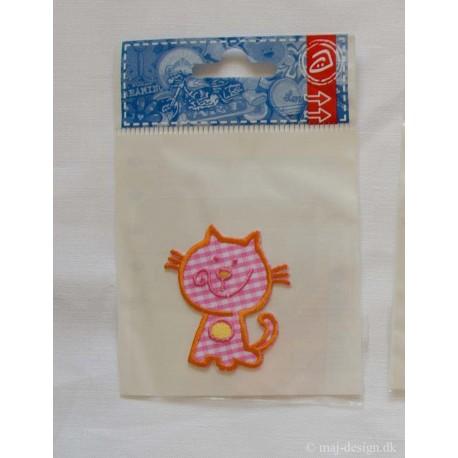 Ternet kat 5x4cm, lyserød Strygemærke