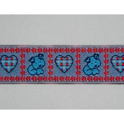 Blåt bånd m/hund og hjerte, 25mm