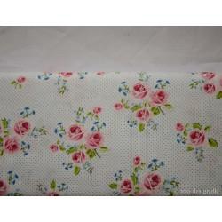 Lyseblå prikket bomuld m/roser