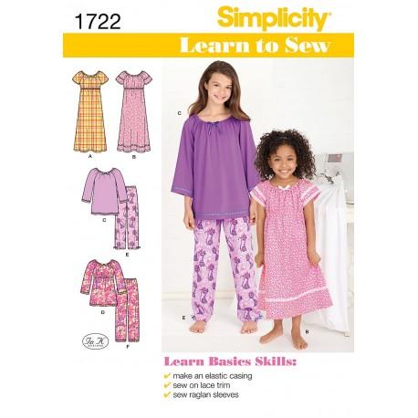 Natkjole og pyjamas,piger simplicity snitmønster 1722