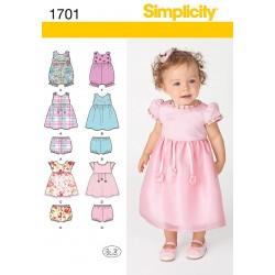 Baby dragt, kjole og pludderbukser Snitmønster