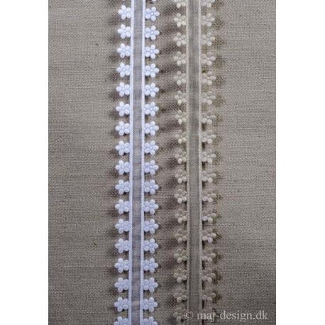 Bånd m/blomster kant, 20mm