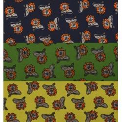 Børnestof m/Løve 3 farver140 cm bred
