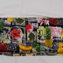 bomuldsstof m/ Frugter og Blomster sort bund 140 cm bred