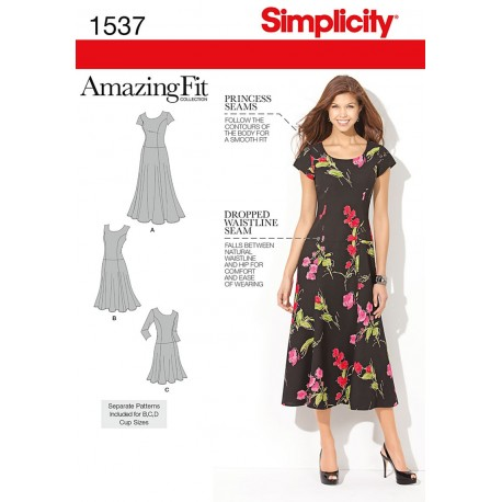 Kjole 3 varianter Snitmønster plusmode AmazingFit Simplicity