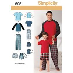 Hjemmesæt pyjamas far /søn Snitmønster