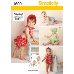 Babytøj, ballonbukser m/flæse og kyse Vintage Snitmønster Simplicity