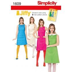 Retro/vintage kjole Jiffy 3 varianter Snitmønster