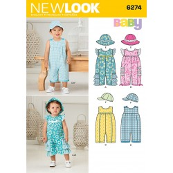 Babytøj dragt m/hue og bøllehat New Look Snitmønster 6274