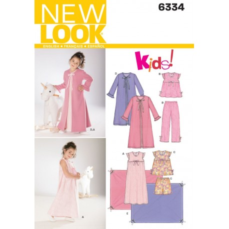 Pige pyjamas,natkjole og morgenkåbe snitmønster